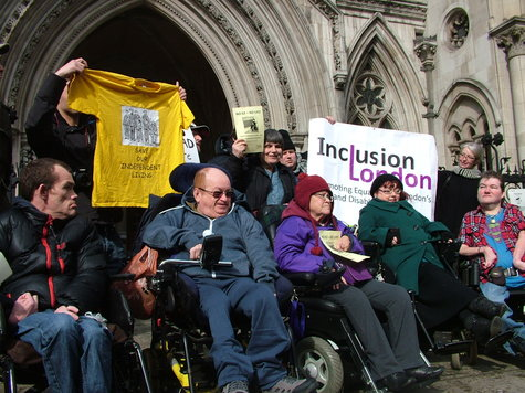 Independent Living Fund users protesting outside the Royal Courts of Justice