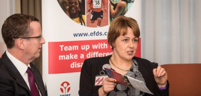 Baroness Grey-Thompson in front of EFDS sign