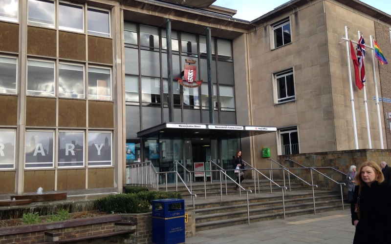 Front entrance of Warwickshire County Council headquarters in Warwick