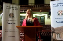Emily Brothers speaking at the Cambridge Union