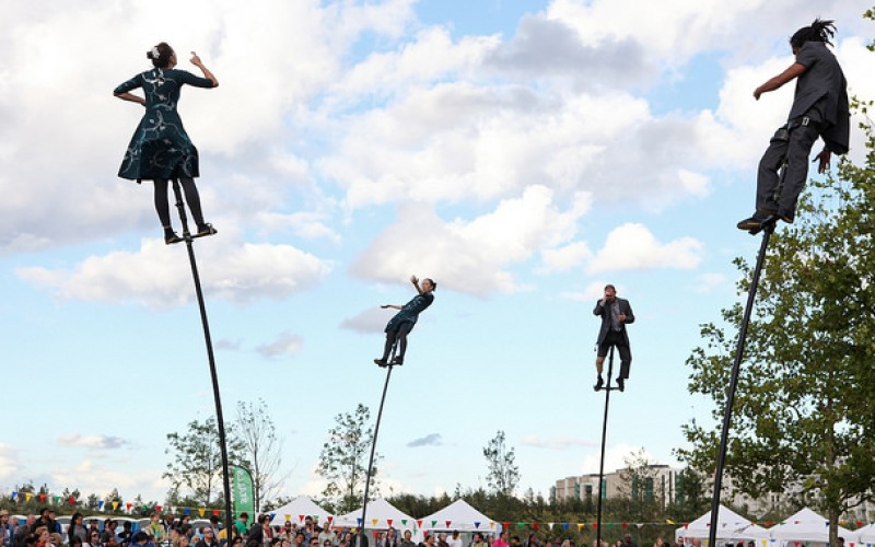 Four dancers on sway poles