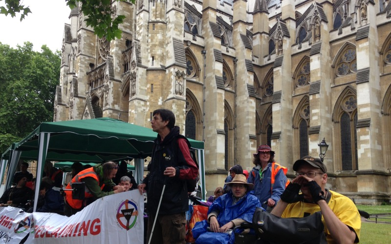 DPAC protesters outside Westminster Abbey