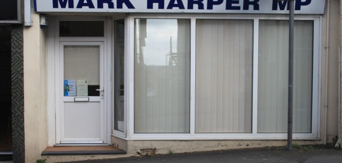 The shopfront of Mark Harper's office, including a doorstep