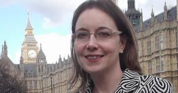 Eilidh Whiteford head and shoulders outside parliament