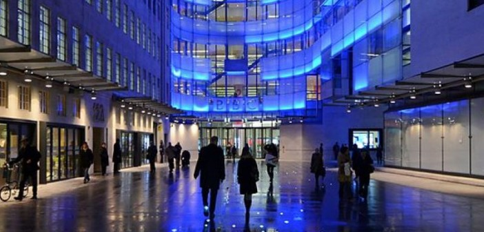 BBC's New Broadcasting House at night