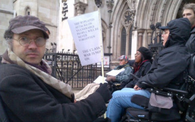 Gabriel Pepper outside the Royal Courts of Justice at an ILF protest