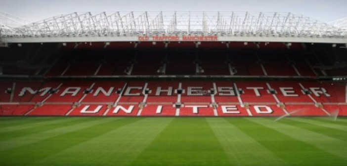 One of the main stands at Old Trafford