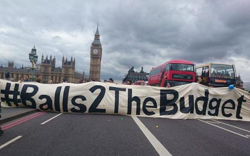 Balls2TheBudget banner across Westminster Bridge