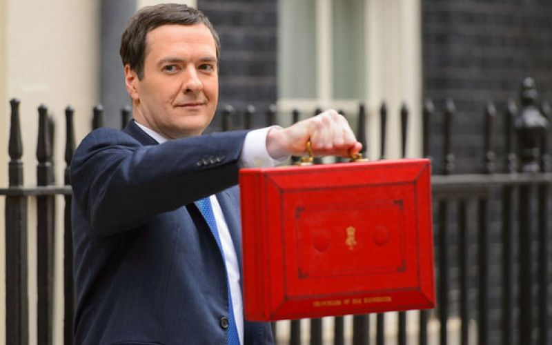 George Osborne holding the budget red box