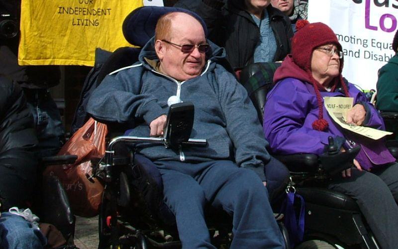 Robert Punton in his wheelchair