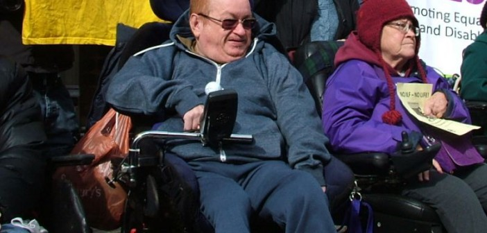 Robert Punton in his wheelchair
