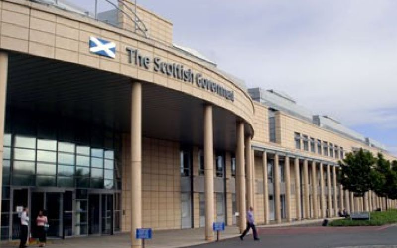Front of a Scottish government building in Edinburgh