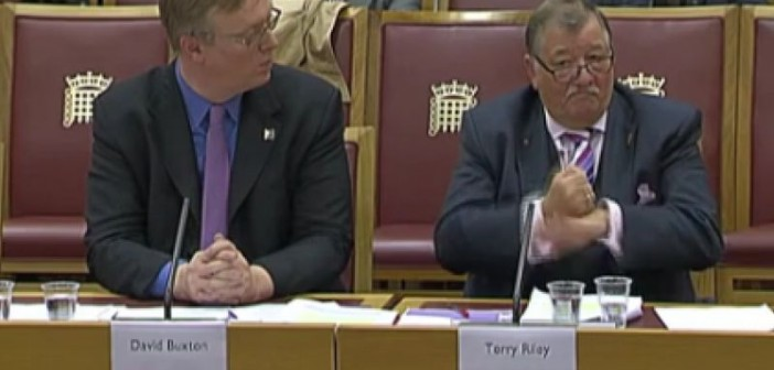 David Buxton and Terry Riley giving evidence to peers