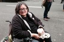 Eleanor Lisney sitting in her wheelchair