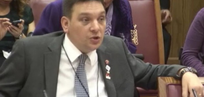 Jonathan Fogerty giving evidence in parliament