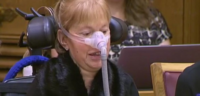 Baroness Campbell head and shoulders at the committee hearing