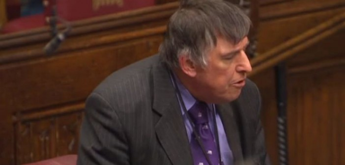 Lord Low speaking during the House of Lords debate