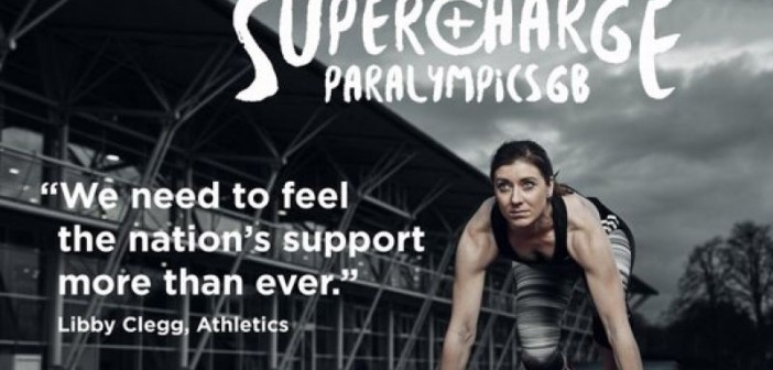 Poster showing Libby Clegg crouching at the start of a race below the word: Supercharge ParalympicsGB