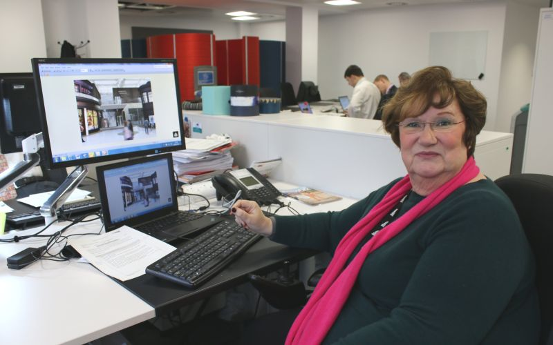 Margaret Hickish sitting in front of her computer