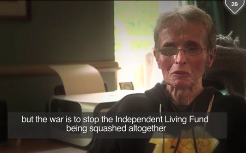 Mary Laver being interviewed about the Independent Living Fund