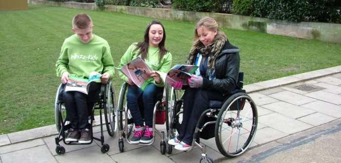 Hannah Cockroft with two Whizz-Kidz ambassadors