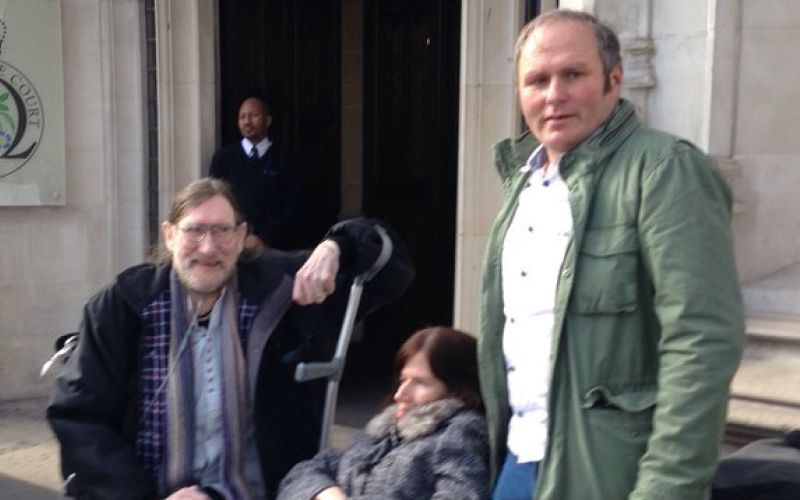 Paul Rutherford outside the Supreme Court with Jacqueline and Jayson Carmichael
