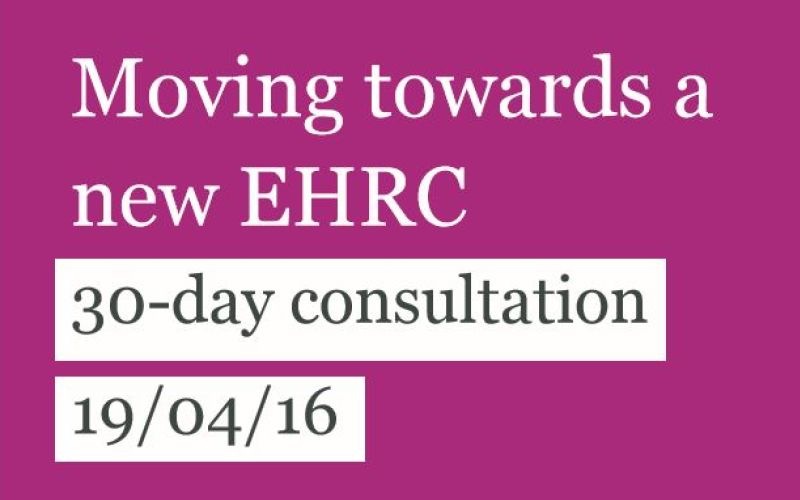 Section of cover of EHRC consultation document