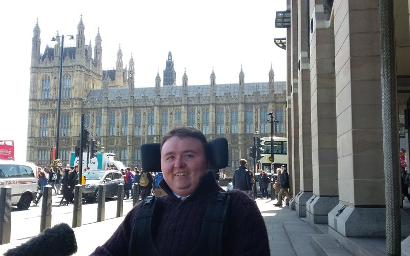 Trailblazer Jordan Wright outside parliament