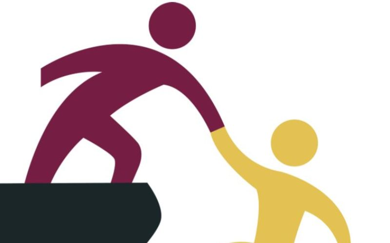 A cartoon of one person helping another up a steep step