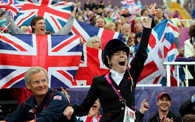 Sophie Christiansen celebrating in front of a crowd at London 2012