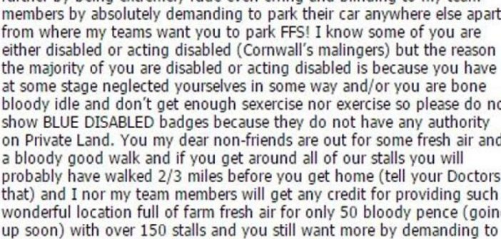 Extract from the Facebook post