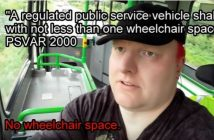 Doug Paulley on a bus, with text about the law on access