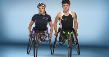 Ben Rowlings and Hannah Cockroft in their racing wheelchairs