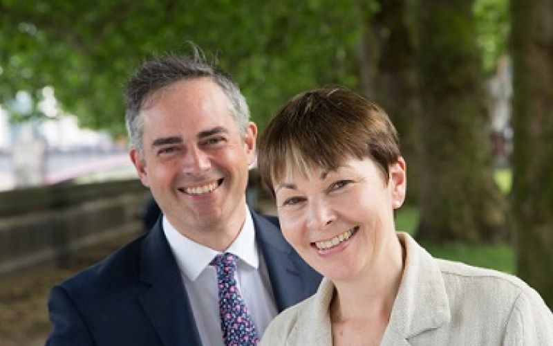 Jonathan Bartley and Caroline Lucas, both smiling