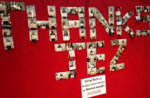 Photographs arranged to make up the words 'THANKS JEZ'