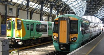 Two Southern trains in a station