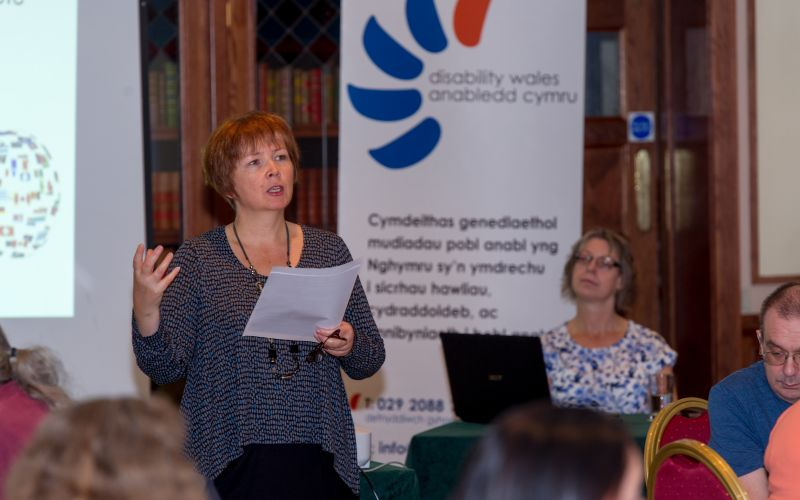 Rhian Davies speaking at an event