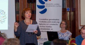 Rhian Davies speaking at an event