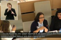 Carly Jones giving evidence at the UN