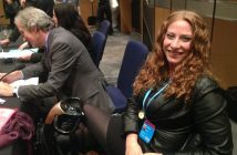 Shana Pezaro after the event, with Stephen Dorrell behind her