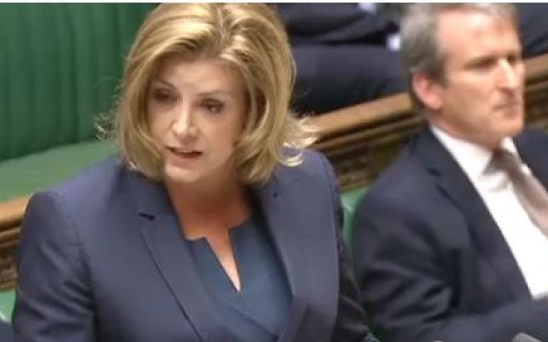 Penny Mordaunt speaking to MPs