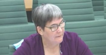 Sue Bott giving evidence to a parliamentary committee