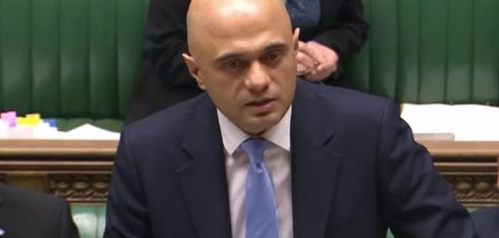 Sajid David announcing the social care funding in parliament
