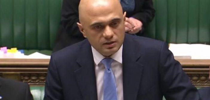 Sajid David announcing the social care funding in parliament