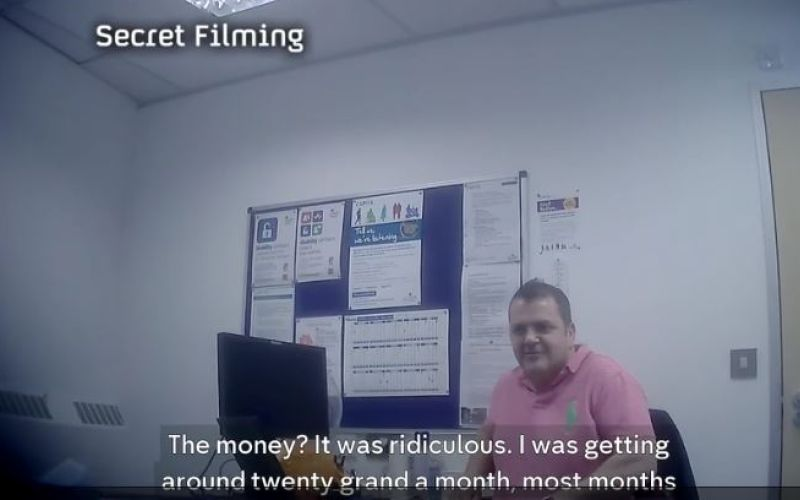 Undercover footage shows Barham at a desk, with the following words at the bottom of the screen: 'The money? It was ridiculous. I was getting around twenty grand a month most months.'