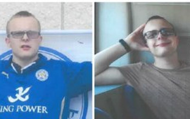 Two pictures of Brendan Mason, one in a football shirt and one of him smiling