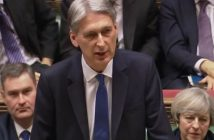 Philip Hammond delivering the budget, watched by the prime minister behind him