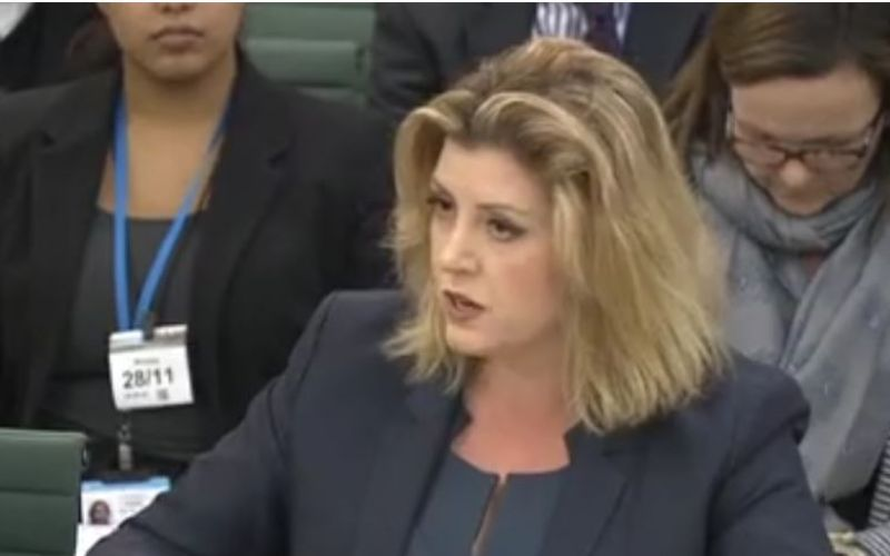 Penny Mordaunt giving evidence to the work and pensions committee