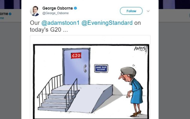 A tweet by George Osborne which shows the cartoon of the prime minister approaching a wheelchair ramp marked 'lame duck access'
