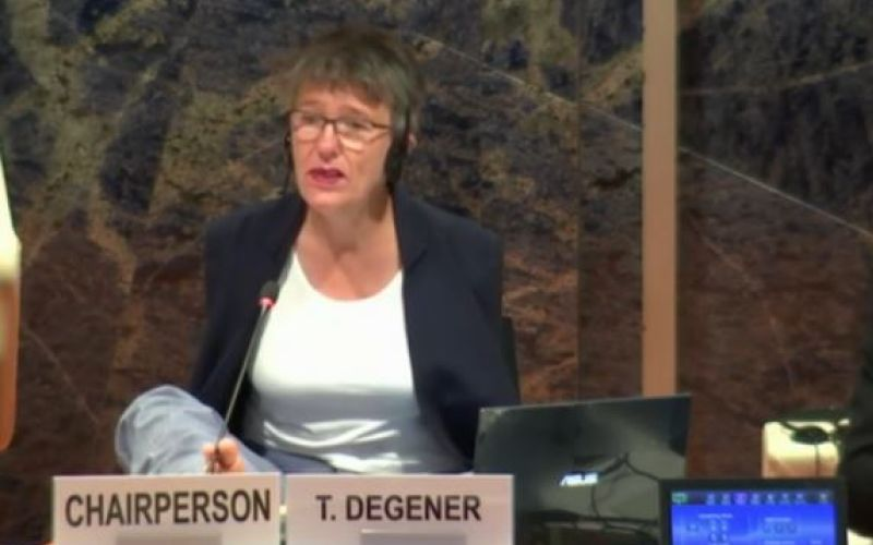 Theresia Degener chair of the committee, sits, talking, behind a name plate saying T Degener